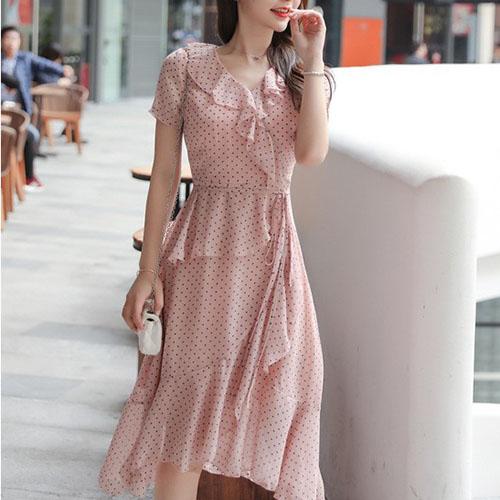 러블리 프릴 라인 도트 원피스 여자옷 남자옷 쇼핑몰
