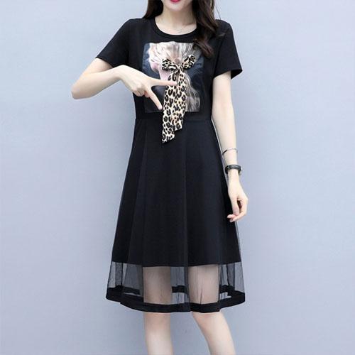 여자옷 남자옷 쇼핑몰 레오파드 리본 프린팅 매쉬 원피스