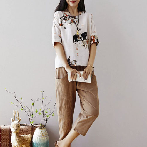 오리엔탈 프린팅 티셔츠 탑 & 포켓 밴딩 팬츠 여자옷 남자옷 쇼핑몰