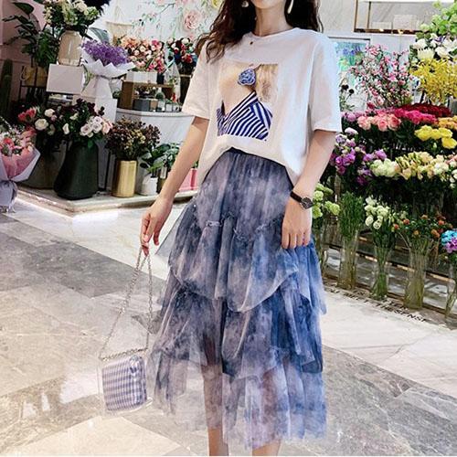 비즈 포인트 프린팅 티셔츠 탑 & 프릴 라인 나염 티어드 스커트 여자옷 남자옷 쇼핑몰