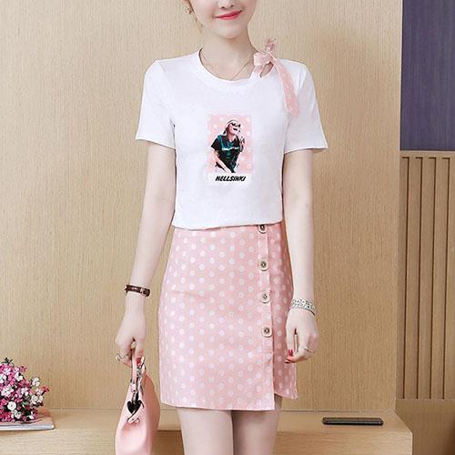 리본 포인트 걸프린팅 티셔츠 탑 & 사이드 버튼업 도트 스커트 여자옷 남자옷 쇼핑몰