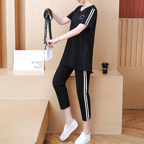 스티치 와펜 티셔츠 탑 & 사이드 라인 팬츠 여자옷 남자옷 쇼핑몰
