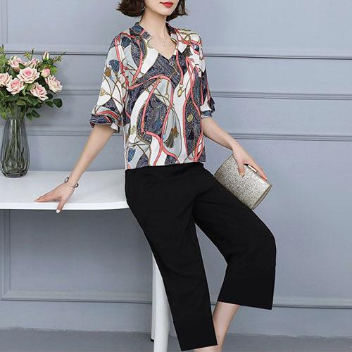 벨트 패턴 블라우스 탑 & 와이드 팬츠 여자옷 남자옷 쇼핑몰