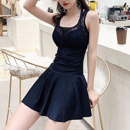 여자옷 남자옷 쇼핑몰 레이스 웨이스트 핏 플레어 원피스